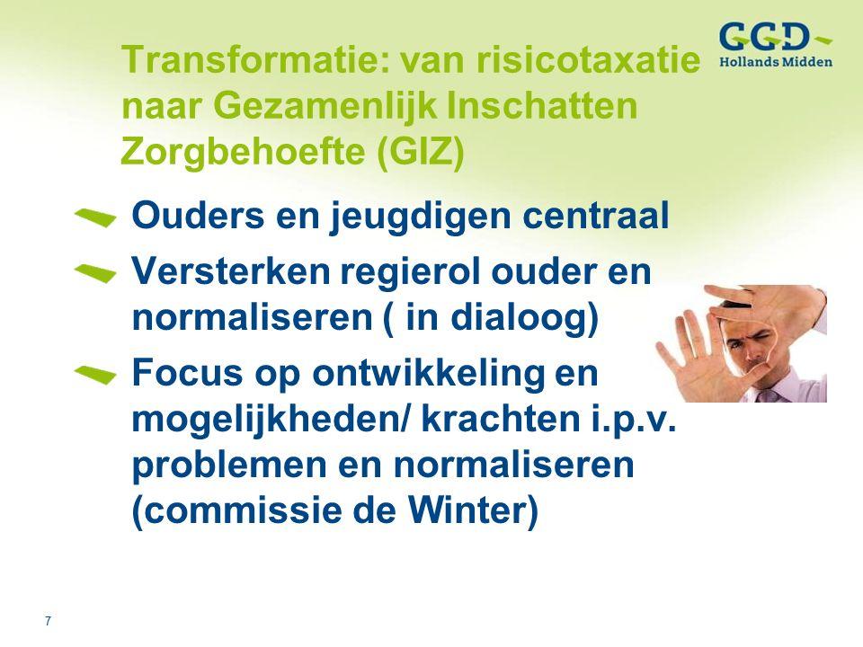 7Titel van de presentatie03-08-2006 Transformatie: van risicotaxatie naar Gezamenlijk Inschatten Zorgbehoefte (GIZ) Ouders en jeugdigen centraal Versterken regierol ouder en normaliseren ( in dialoog) Focus op ontwikkeling en mogelijkheden/ krachten i.p.v.