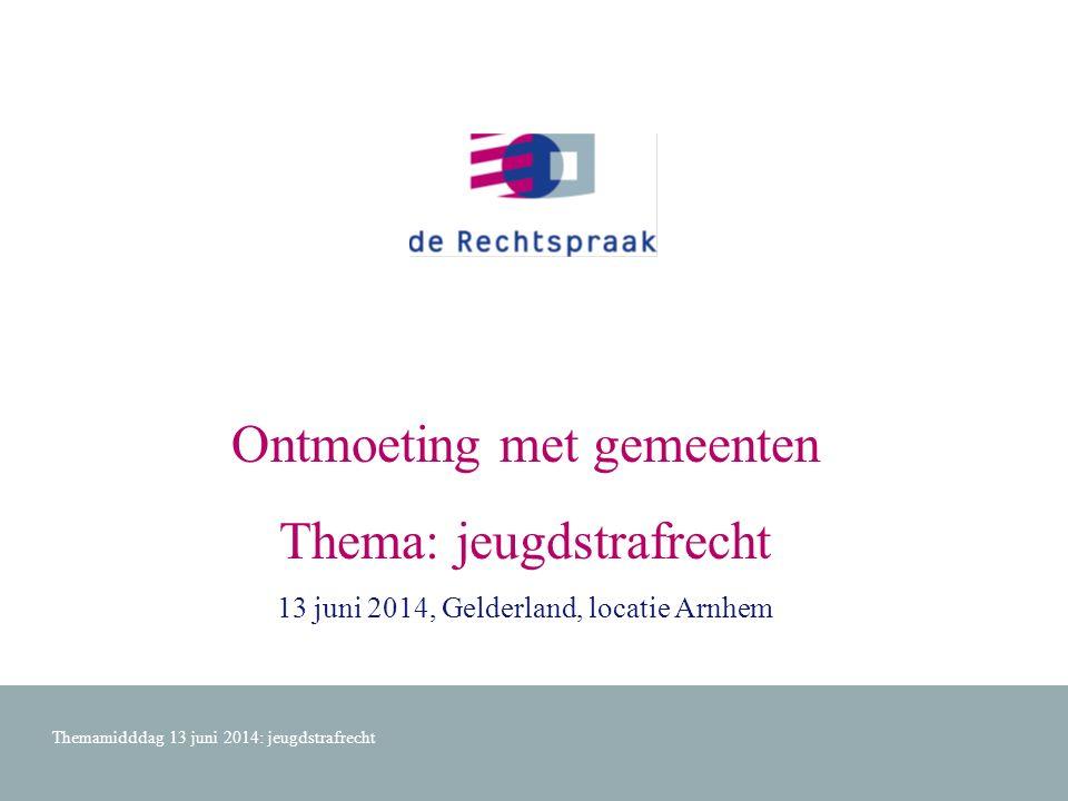 Ontmoeting met gemeenten Thema: jeugdstrafrecht 13 juni 2014, Gelderland, locatie Arnhem Themamidddag 13 juni 2014: jeugdstrafrecht