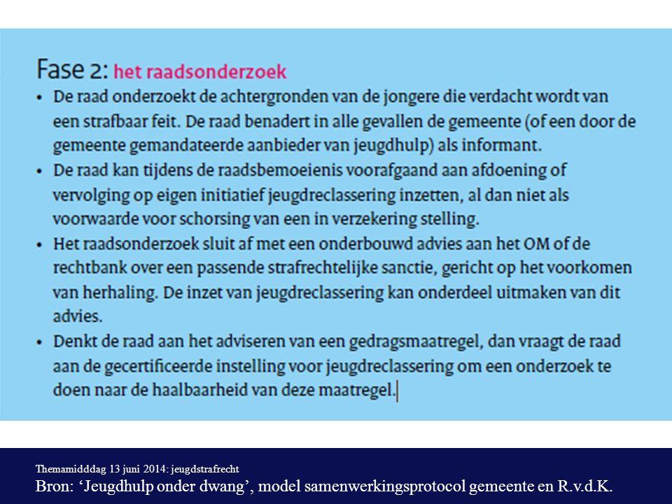 Themamidddag 13 juni 2014: jeugdstrafrecht Bron: 'Jeugdhulp onder dwang', model samenwerkingsprotocol gemeente en R.v.d.K.