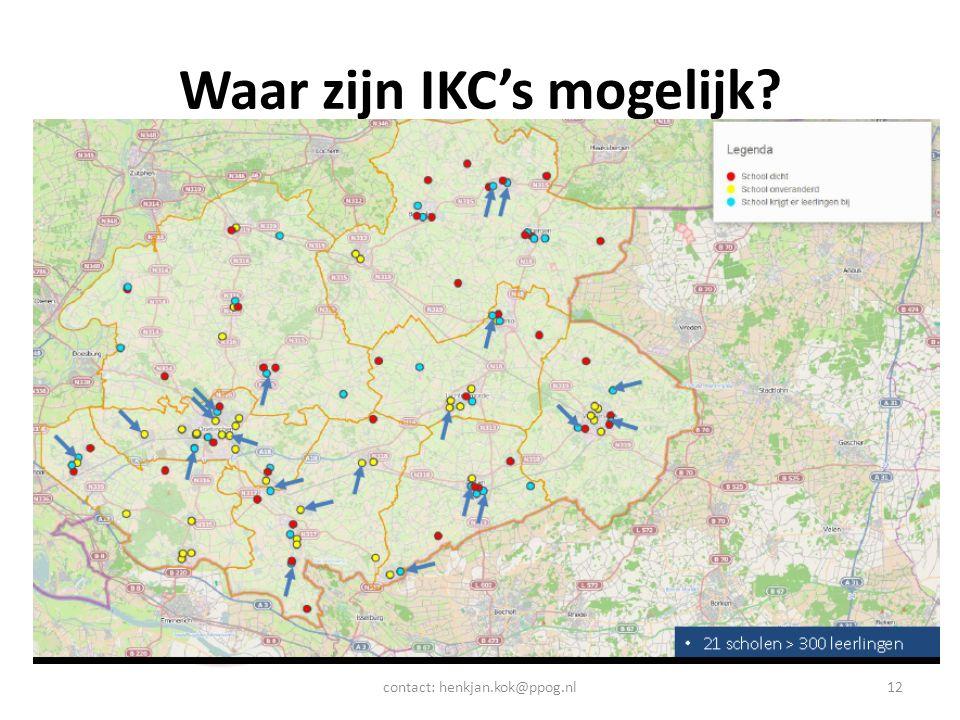 Waar zijn IKC's mogelijk? contact: henkjan.kok@ppog.nl12