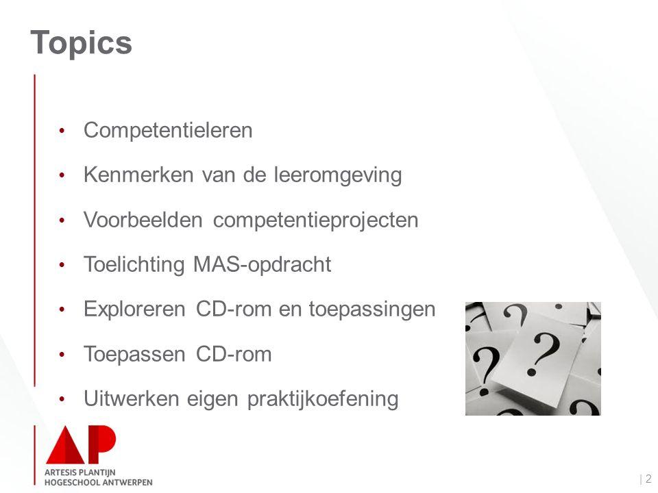 Topics | 2 Competentieleren Kenmerken van de leeromgeving Voorbeelden competentieprojecten Toelichting MAS-opdracht Exploreren CD-rom en toepassingen Toepassen CD-rom Uitwerken eigen praktijkoefening