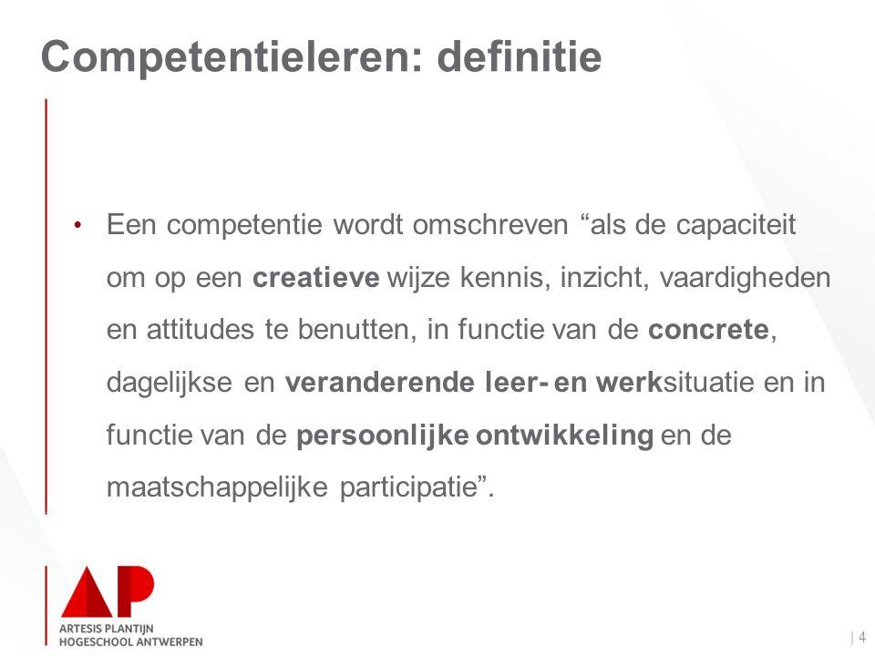 Competentieleren: definitie | 4 Een competentie wordt omschreven als de capaciteit om op een creatieve wijze kennis, inzicht, vaardigheden en attitudes te benutten, in functie van de concrete, dagelijkse en veranderende leer- en werksituatie en in functie van de persoonlijke ontwikkeling en de maatschappelijke participatie .