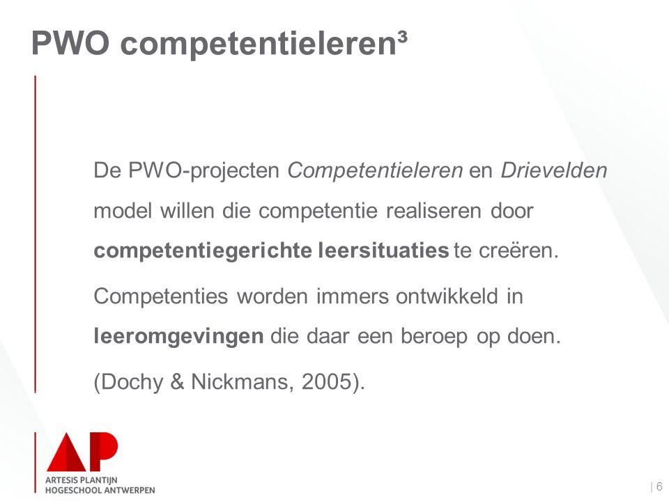 PWO competentieleren³ | 6 De PWO-projecten Competentieleren en Drievelden model willen die competentie realiseren door competentiegerichte leersituaties te creëren.