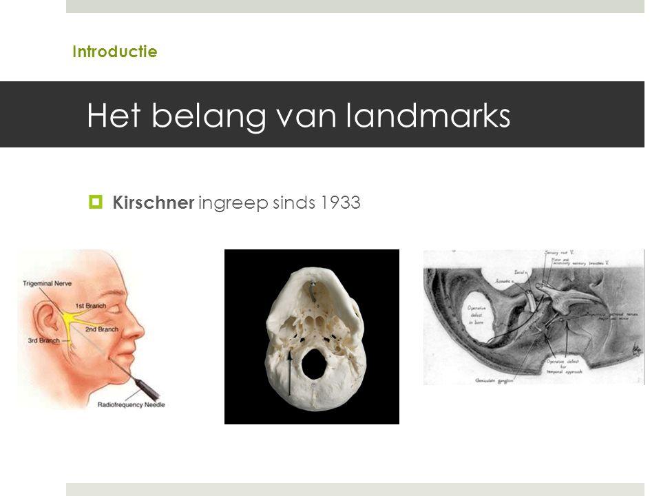 Het belang van landmarks  Kirschner ingreep sinds 1933 Introductie