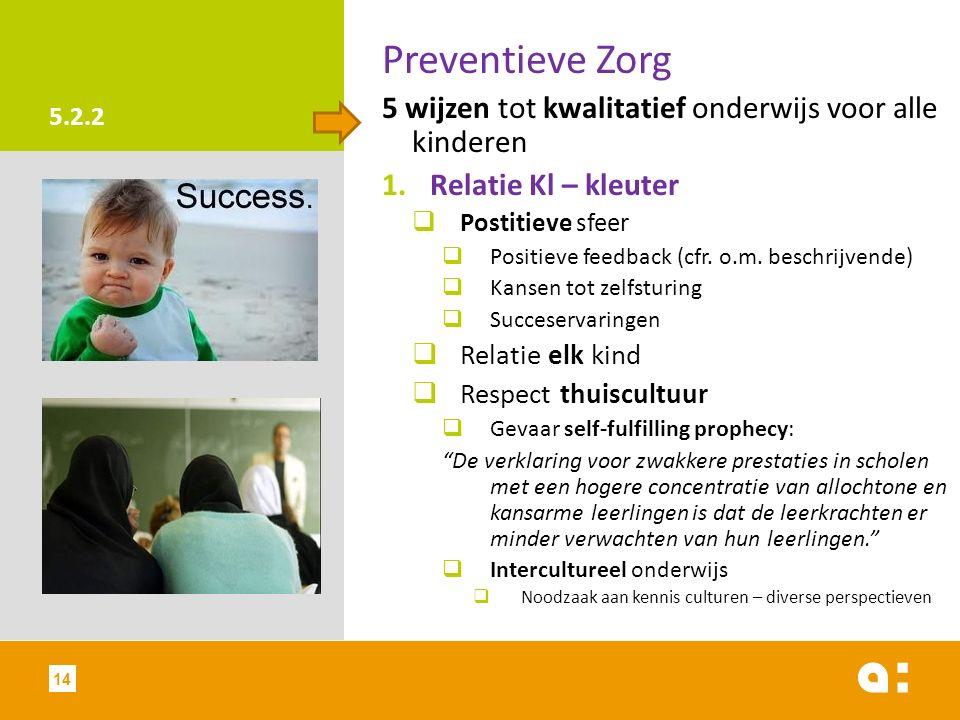 5.2.2 Preventieve Zorg 5 wijzen tot kwalitatief onderwijs voor alle kinderen 1.Relatie Kl – kleuter  Postitieve sfeer  Positieve feedback (cfr.