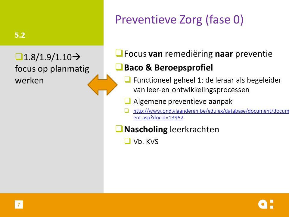 5.2 Preventieve Zorg (fase 0)  Focus van remediëring naar preventie  Baco & Beroepsprofiel  Functioneel geheel 1: de leraar als begeleider van leer-en ontwikkelingsprocessen  Algemene preventieve aanpak  http://www.ond.vlaanderen.be/edulex/database/document/docum ent.asp?docid=13952 http://www.ond.vlaanderen.be/edulex/database/document/docum ent.asp?docid=13952  Nascholing leerkrachten  Vb.