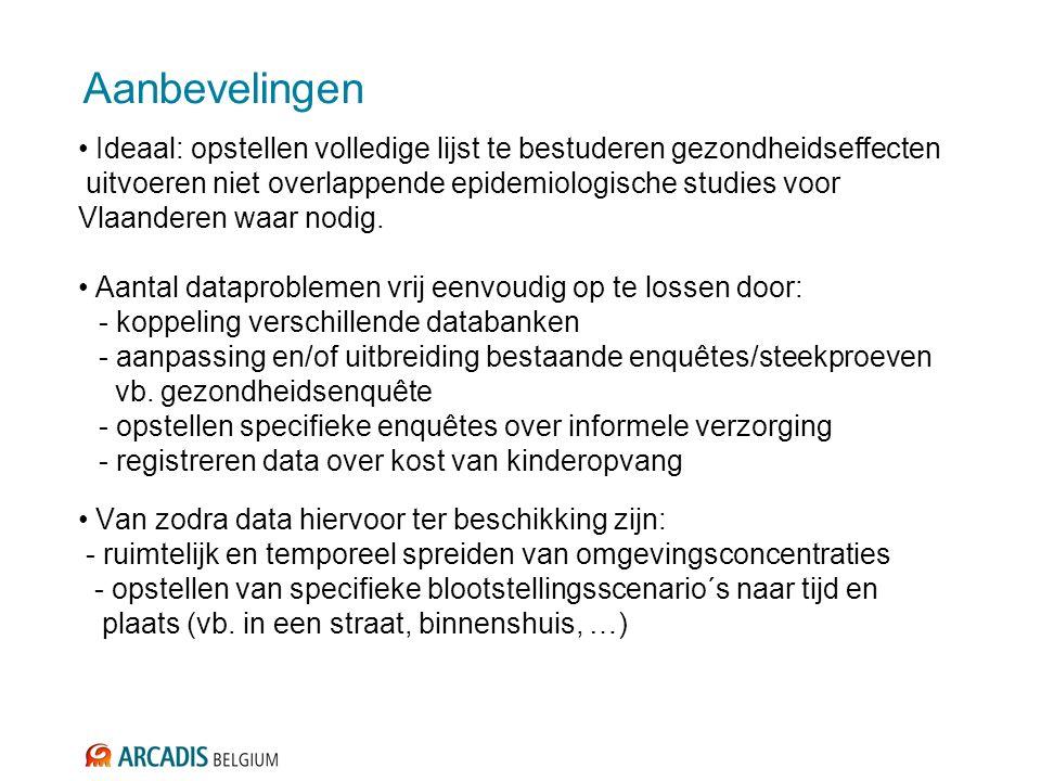 Aanbevelingen Ideaal: opstellen volledige lijst te bestuderen gezondheidseffecten uitvoeren niet overlappende epidemiologische studies voor Vlaanderen waar nodig.