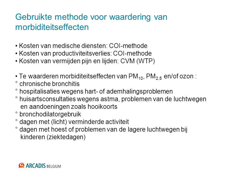 Geactualiseerde data voor Vlaanderen Voor elke Europese dosis-responsfunctie zoeken naar: - schattingen van actuele basiswaarden in Vlaanderen - eenheidswaarden voor de COI en/of WTP om het effect te vermijden Directe medische kosten: - Lange zoektocht naar geschikte data - Voor spoedhospitalisatie wegens hart- of ademhalingsproblemen: koppeling tussen: * basiswaarden van de gezondheidseffecten: uit databank minimale klinische gegevens * gemiddelde kostprijs per diagnose: uit databank minimale financiële gegevens - Voor huisartsconsultaties wegens astma en problemen van de luchtwegen: via aangekochte dataset van het Intermutualistisch Agentschap Kosten van productiviteitsverlies door ziekte - Professionele arbeid: SD Worx-enquête - Huishoudelijke arbeid: PWA-cheques