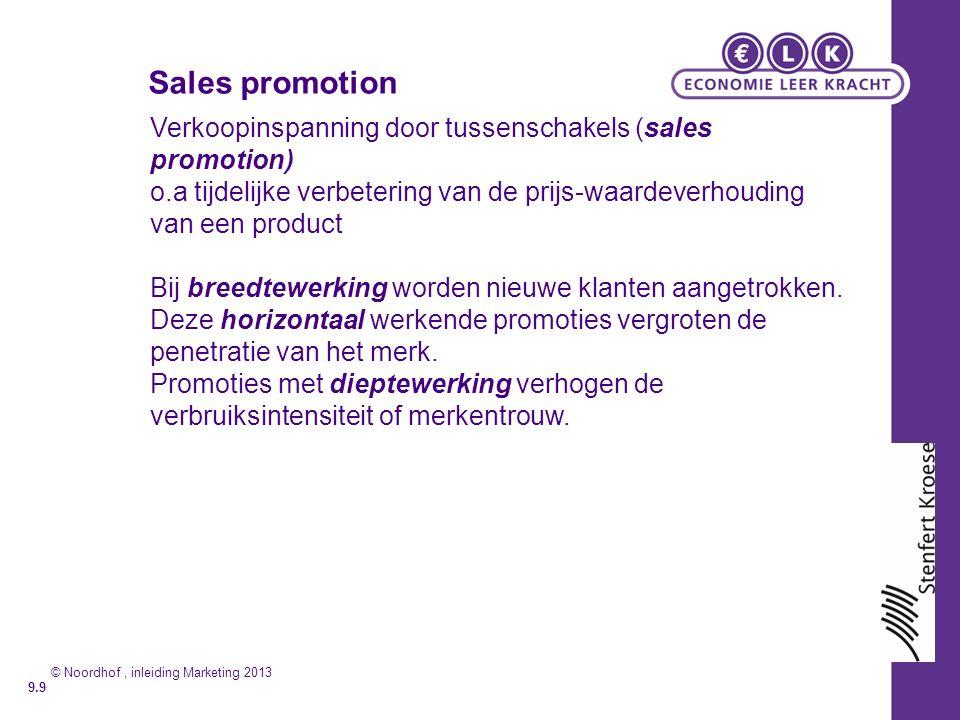 Sales promotion Verkoopinspanning door tussenschakels (sales promotion) o.a tijdelijke verbetering van de prijs-waardeverhouding van een product Bij breedtewerking worden nieuwe klanten aangetrokken.