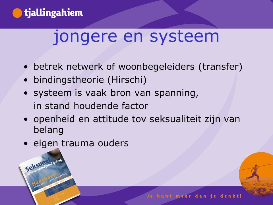 jongere en systeem betrek netwerk of woonbegeleiders (transfer) bindingstheorie (Hirschi) systeem is vaak bron van spanning, in stand houdende factor