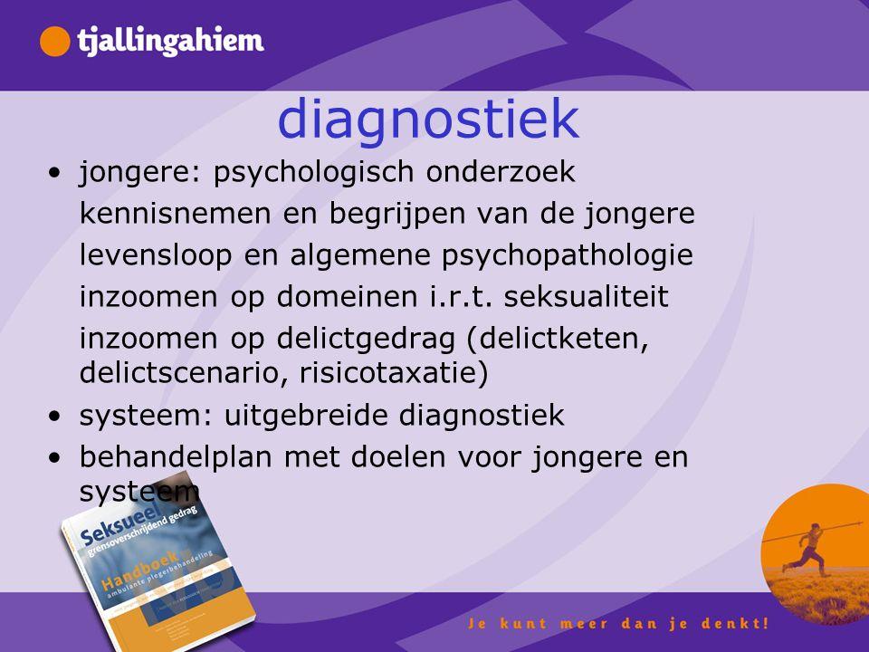 diagnostiek jongere: psychologisch onderzoek kennisnemen en begrijpen van de jongere levensloop en algemene psychopathologie inzoomen op domeinen i.r.t.