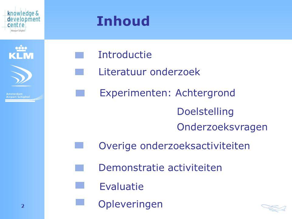 Amsterdam Airport Schiphol 2 Inhoud Introductie Experimenten: Achtergrond Doelstelling Onderzoeksvragen Overige onderzoeksactiviteiten Demonstratie activiteiten Literatuur onderzoek Opleveringen Evaluatie