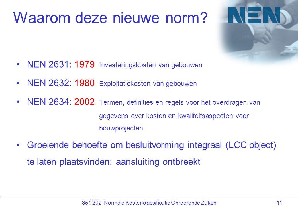 351 202 Normcie Kostenclassificatie Onroerende Zaken11 Waarom deze nieuwe norm.
