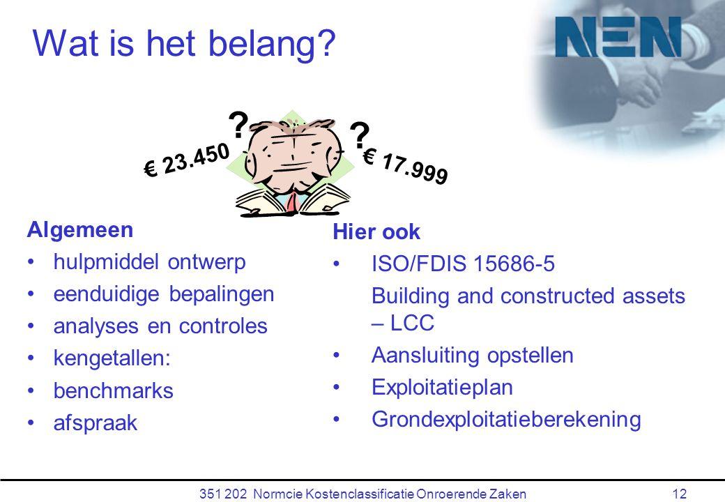 351 202 Normcie Kostenclassificatie Onroerende Zaken12 Wat is het belang.