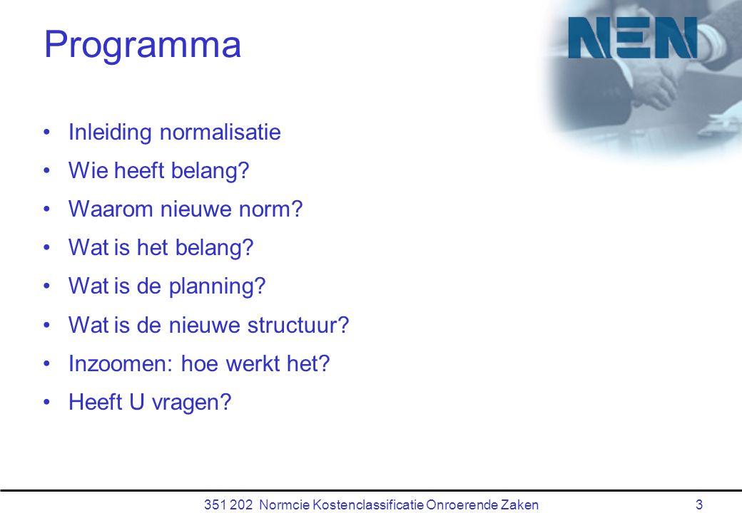 351 202 Normcie Kostenclassificatie Onroerende Zaken3 Programma Inleiding normalisatie Wie heeft belang.