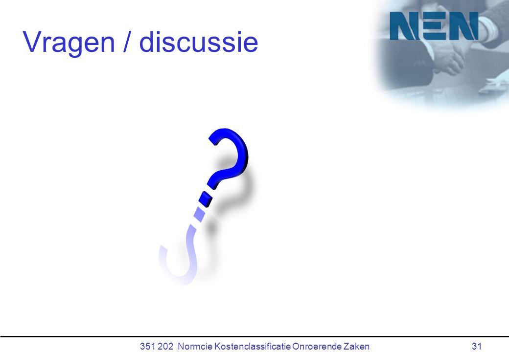351 202 Normcie Kostenclassificatie Onroerende Zaken31 Vragen / discussie