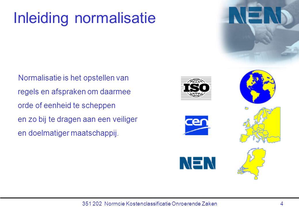 351 202 Normcie Kostenclassificatie Onroerende Zaken4 Inleiding normalisatie Normalisatie is het opstellen van regels en afspraken om daarmee orde of eenheid te scheppen en zo bij te dragen aan een veiliger en doelmatiger maatschappij.