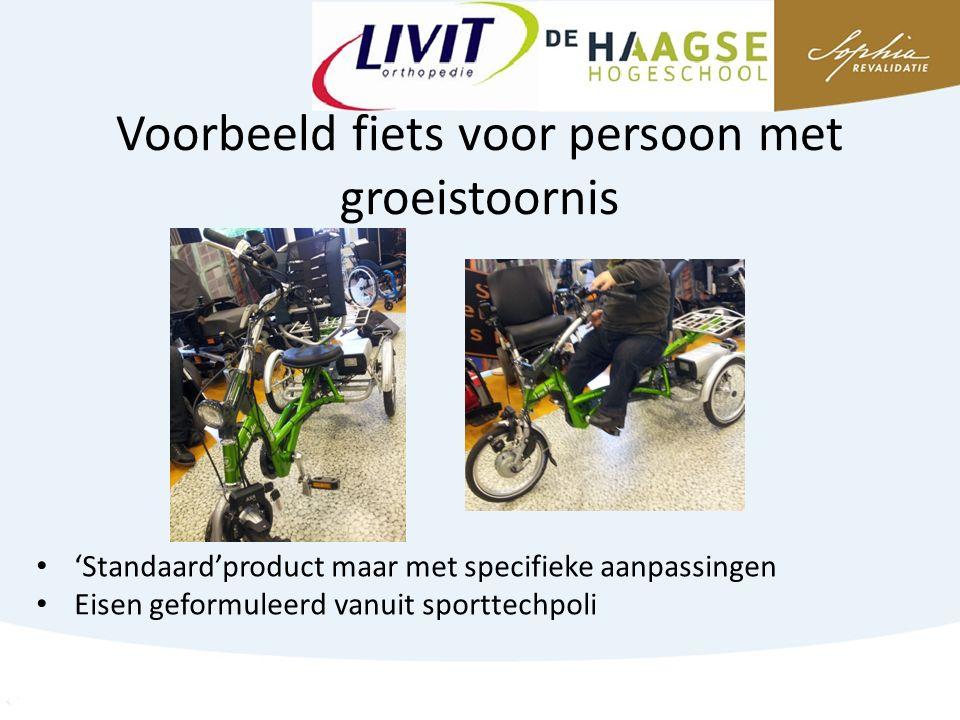Voorbeeld fiets voor persoon met groeistoornis 'Standaard'product maar met specifieke aanpassingen Eisen geformuleerd vanuit sporttechpoli