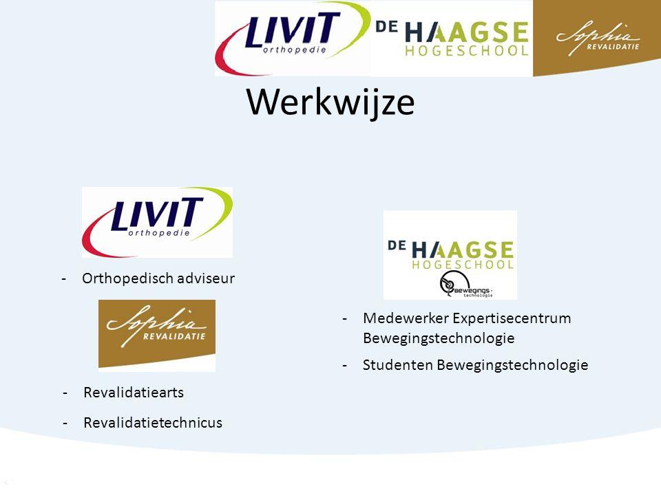 Werkwijze -Orthopedisch adviseur -Revalidatiearts -Revalidatietechnicus -Medewerker Expertisecentrum Bewegingstechnologie -Studenten Bewegingstechnologie