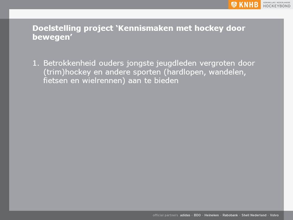 Doelstelling project 'Kennismaken met hockey door bewegen' 1.Betrokkenheid ouders jongste jeugdleden vergroten door (trim)hockey en andere sporten (hardlopen, wandelen, fietsen en wielrennen) aan te bieden
