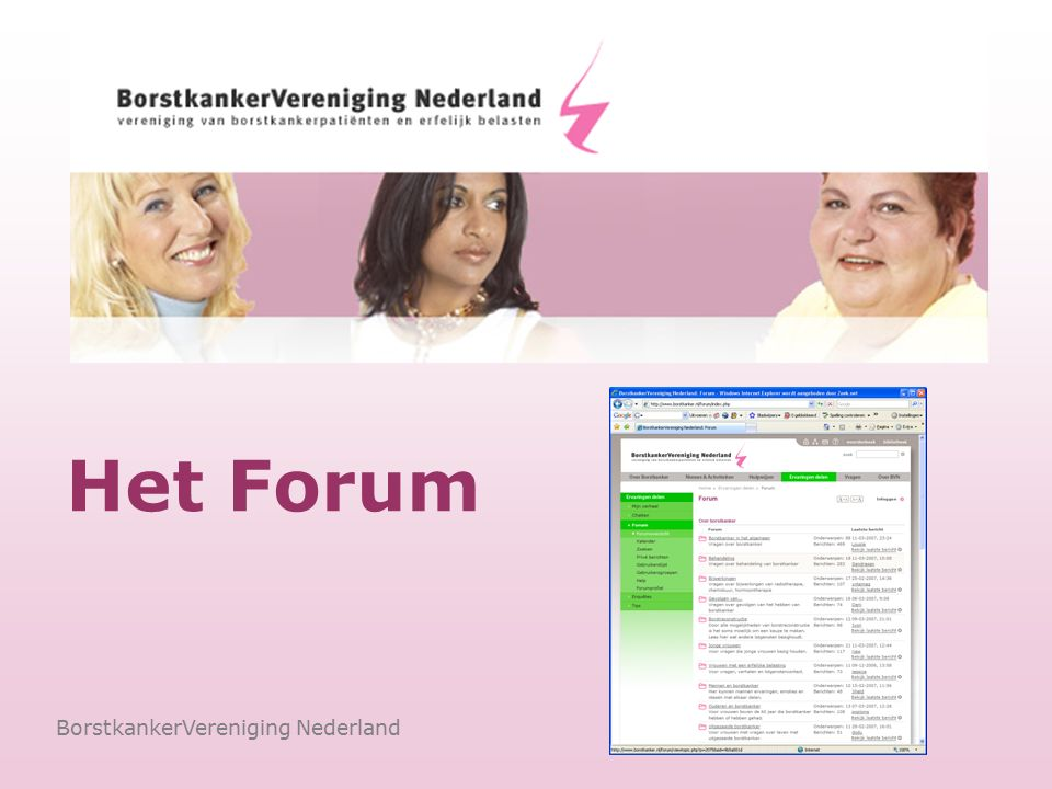 Vragen beantwoorden door een specialist BorstkankerVereniging Nederland Oprechte antwoorden Vlotte afhandeling van vragen Goede sfeer Tijd nemen voor ontwikkeling