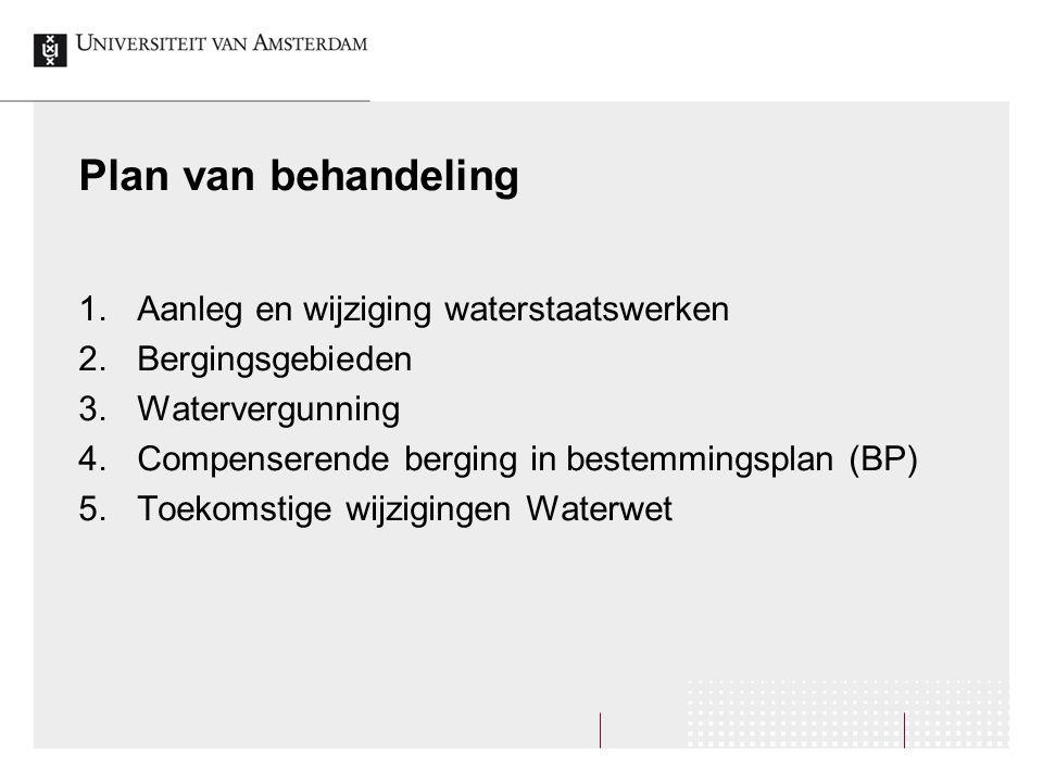 Plan van behandeling 1.Aanleg en wijziging waterstaatswerken 2.Bergingsgebieden 3.Watervergunning 4.Compenserende berging in bestemmingsplan (BP) 5.Toekomstige wijzigingen Waterwet