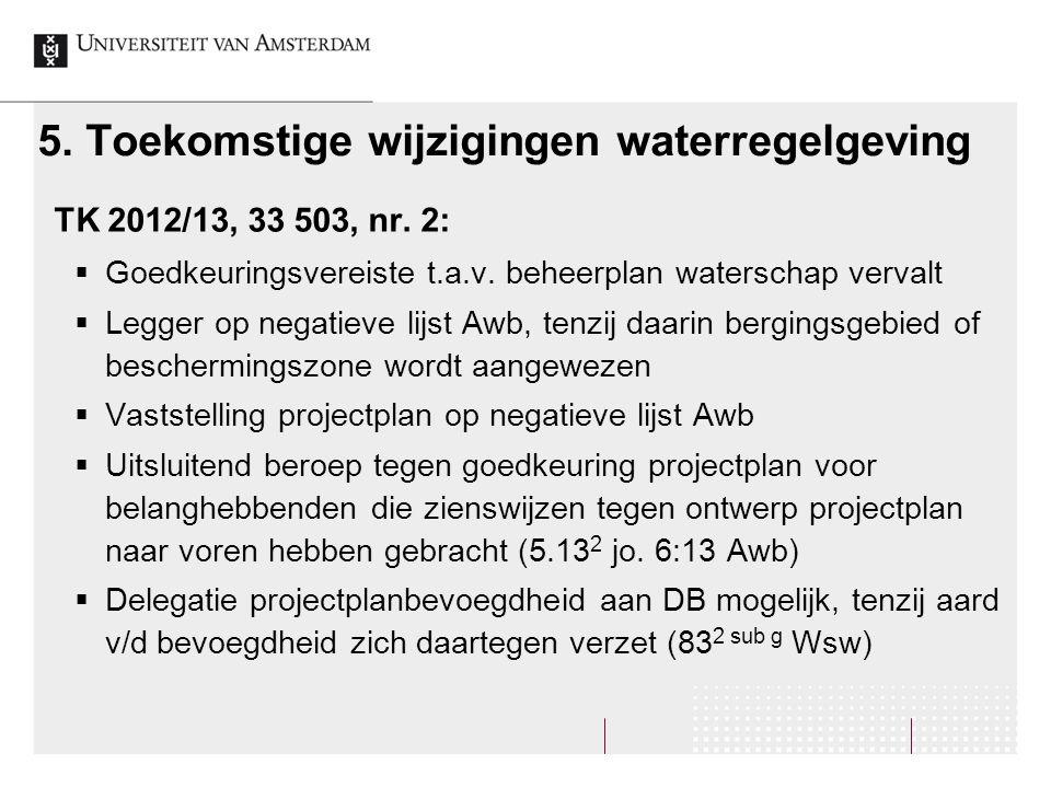 5. Toekomstige wijzigingen waterregelgeving TK 2012/13, 33 503, nr.