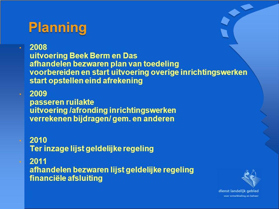 Planning 2008 uitvoering Beek Berm en Das afhandelen bezwaren plan van toedeling voorbereiden en start uitvoering overige inrichtingswerken start opst