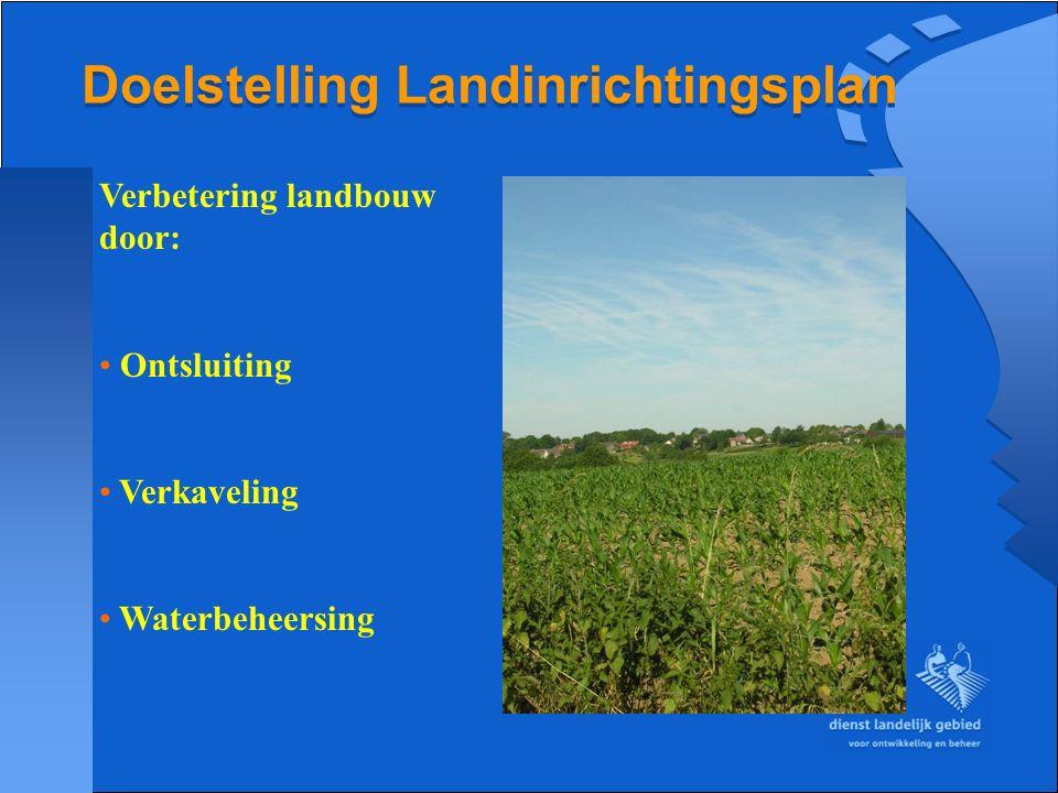 Doelstelling Landinrichtingsplan Verbetering landbouw door: Ontsluiting Verkaveling Waterbeheersing