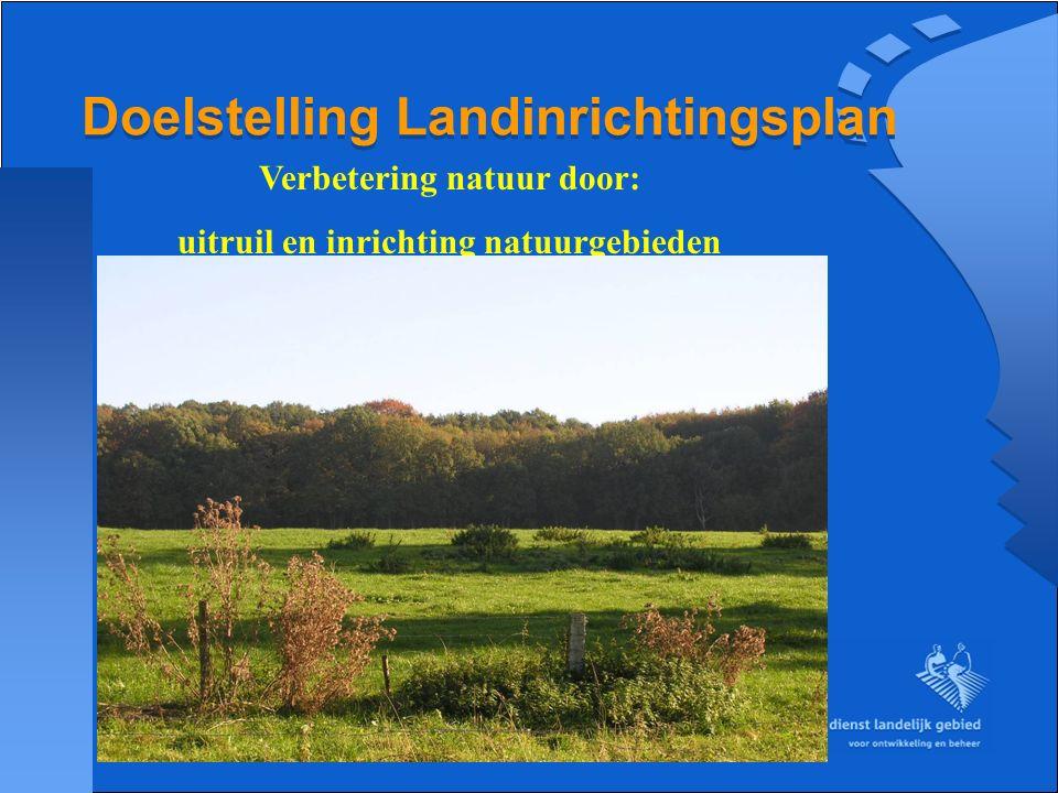 Doelstelling Landinrichtingsplan Verbetering natuur door: uitruil en inrichting natuurgebieden