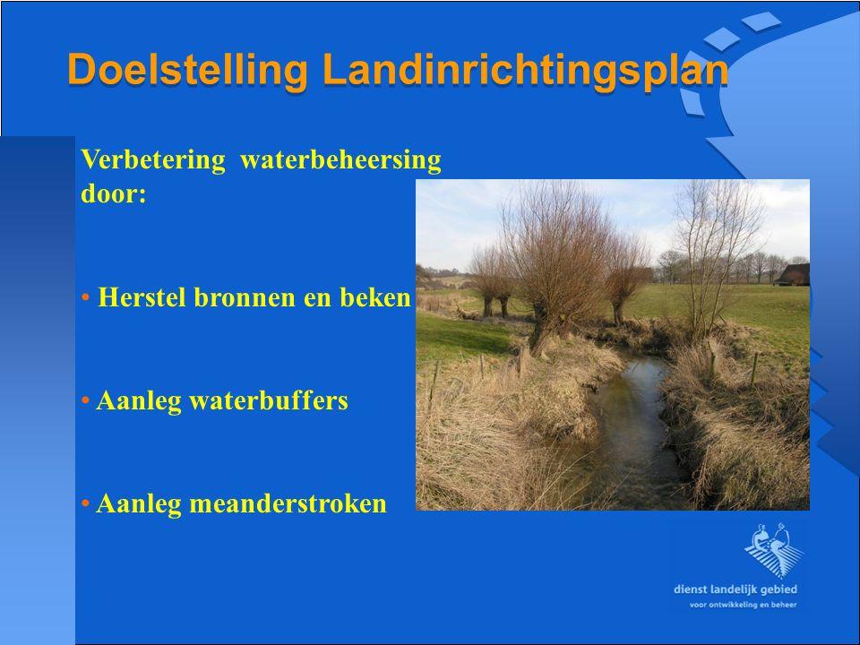 Doelstelling Landinrichtingsplan Verbetering waterbeheersing door: Herstel bronnen en beken Aanleg waterbuffers Aanleg meanderstroken