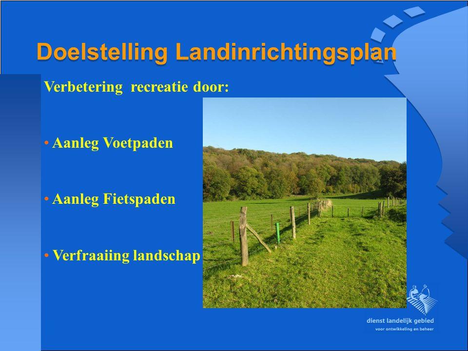 Doelstelling Landinrichtingsplan Verbetering recreatie door: Aanleg Voetpaden Aanleg Fietspaden Verfraaiing landschap