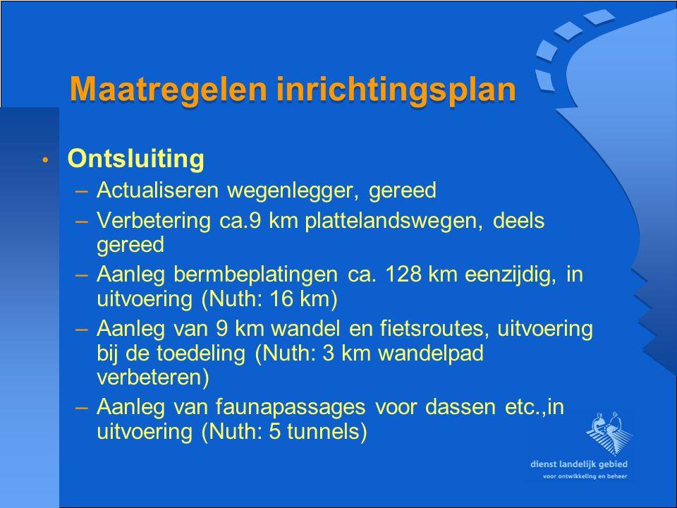 Maatregelen inrichtingsplan Waterbeheersing –Vrij laten meanderen van beken, in uitvoering –Aanleg van ca.