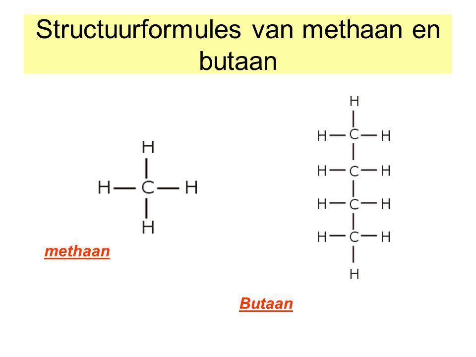 Structuurformules van methaan en butaan methaan Butaan