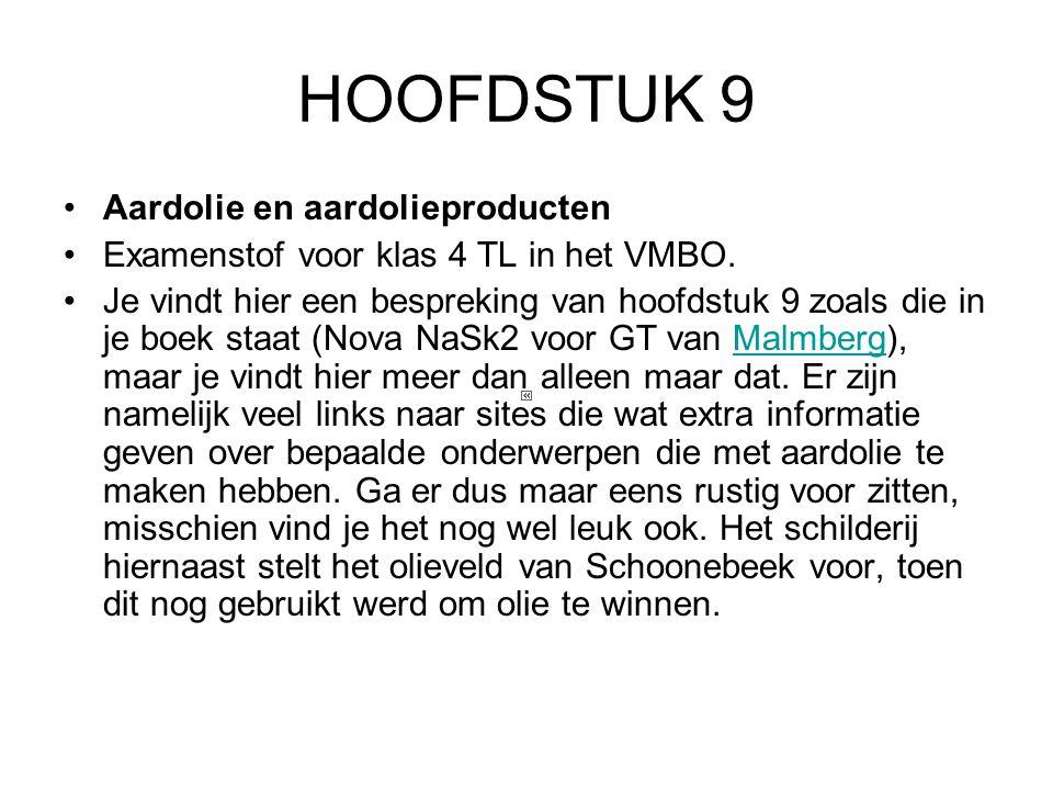 HOOFDSTUK 9 Aardolie en aardolieproducten Examenstof voor klas 4 TL in het VMBO.