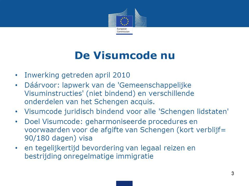 De Visumcode nu Inwerking getreden april 2010 Dáárvoor: lapwerk van de Gemeenschappelijke Visuminstructies (niet bindend) en verschillende onderdelen van het Schengen acquis.