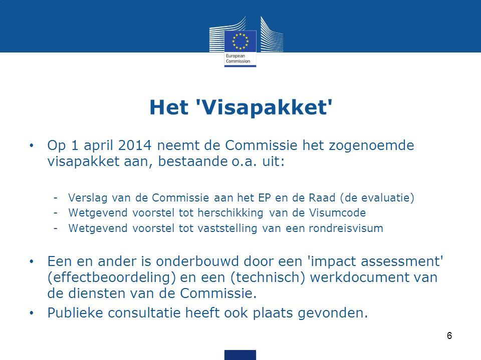 Het Visapakket Op 1 april 2014 neemt de Commissie het zogenoemde visapakket aan, bestaande o.a.