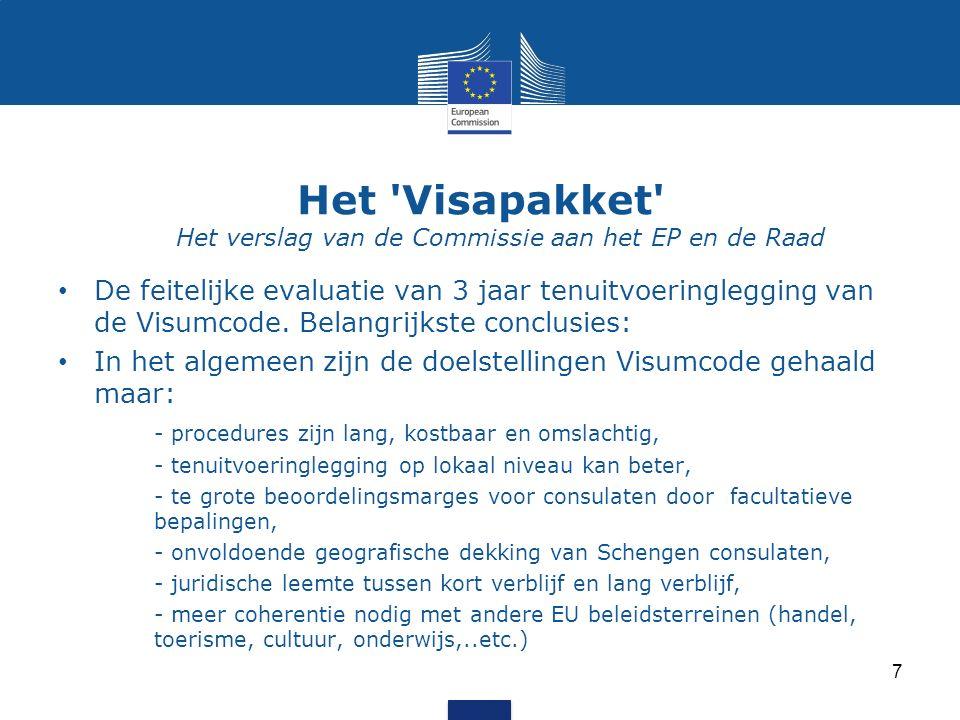 Het Visapakket Het verslag van de Commissie aan het EP en de Raad De feitelijke evaluatie van 3 jaar tenuitvoeringlegging van de Visumcode.