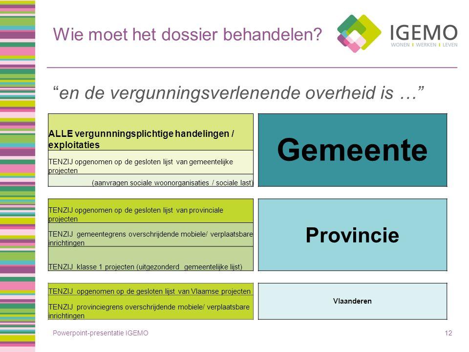 """Wie moet het dossier behandelen? """"en de vergunningsverlenende overheid is …"""" Powerpoint-presentatie IGEMO12 ALLE vergunnningsplichtige handelingen / e"""