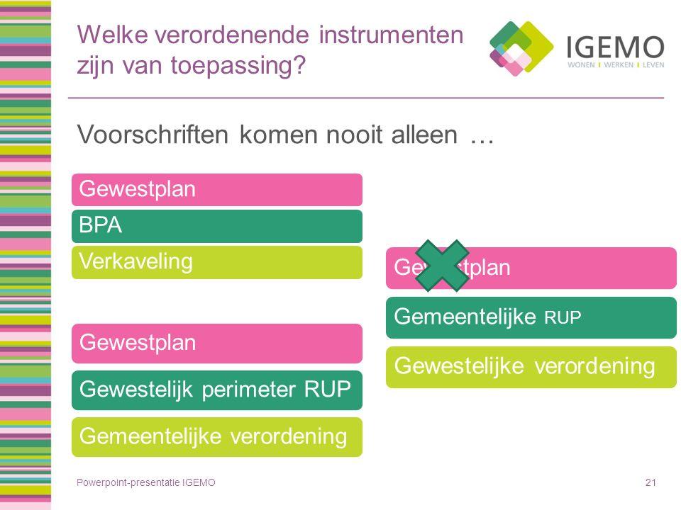 Welke verordenende instrumenten zijn van toepassing? Voorschriften komen nooit alleen … Powerpoint-presentatie IGEMO21 GewestplanBPAVerkaveling Gewest