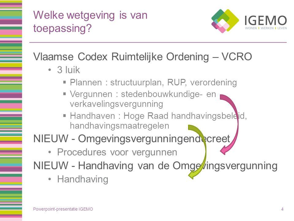 Welke wetgeving is van toepassing? Vlaamse Codex Ruimtelijke Ordening – VCRO 3 luik  Plannen : structuurplan, RUP, verordening  Vergunnen : stedenbo