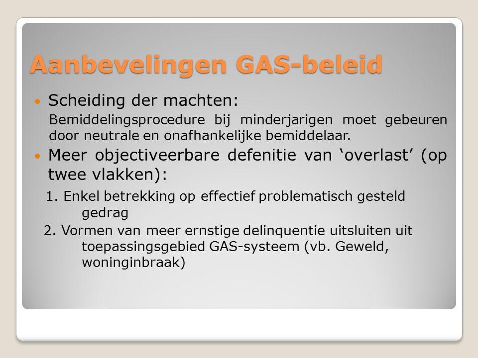 Aanbevelingen GAS-beleid Scheiding der machten: Bemiddelingsprocedure bij minderjarigen moet gebeuren door neutrale en onafhankelijke bemiddelaar.