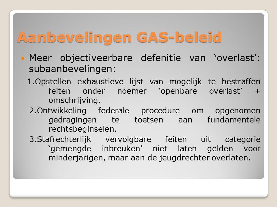 Aanbevelingen GAS-beleid Meer objectiveerbare defenitie van 'overlast': subaanbevelingen: 1.Opstellen exhaustieve lijst van mogelijk te bestraffen feiten onder noemer 'openbare overlast' + omschrijving.