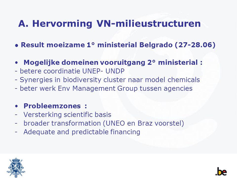 A. Hervorming VN-milieustructuren ● Result moeizame 1° ministerial Belgrado (27-28.06) Mogelijke domeinen vooruitgang 2° ministerial : - betere coordi