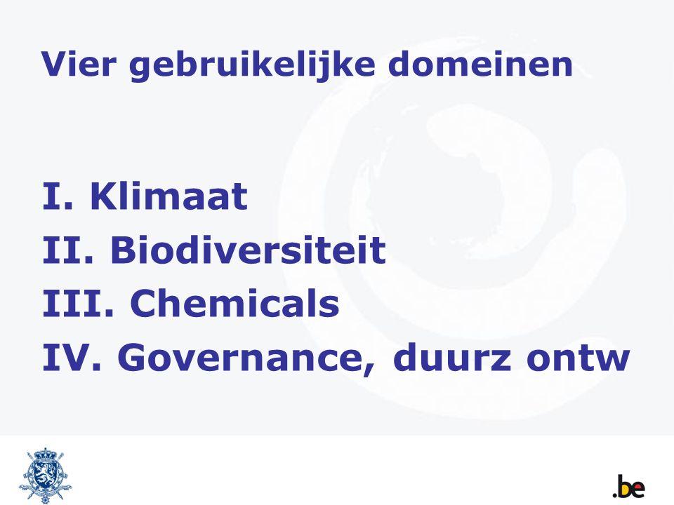 Vier gebruikelijke domeinen I. Klimaat II. Biodiversiteit III. Chemicals IV. Governance, duurz ontw