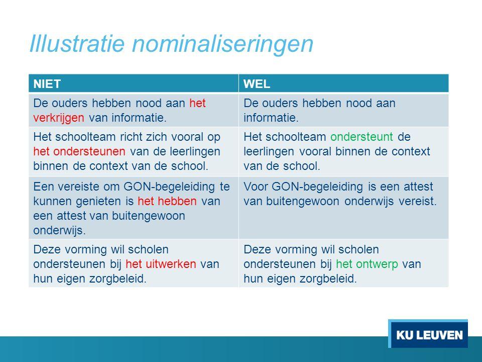 Illustratie nominaliseringen NIETWEL De ouders hebben nood aan het verkrijgen van informatie.