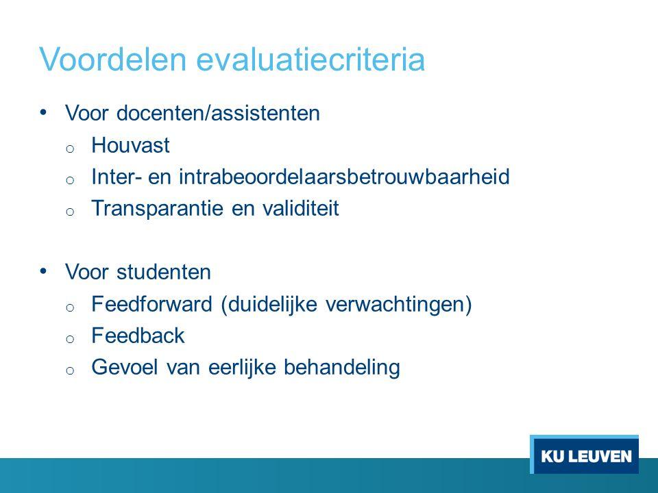 Bespreking evaluatiecriteria Overzicht criteria taal en vorm