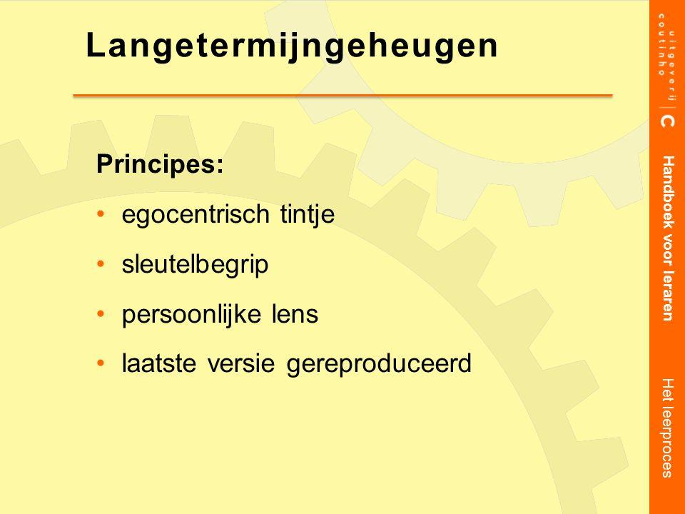 Principes: egocentrisch tintje sleutelbegrip persoonlijke lens laatste versie gereproduceerd Handboek voor leraren Het leerproces Langetermijngeheugen