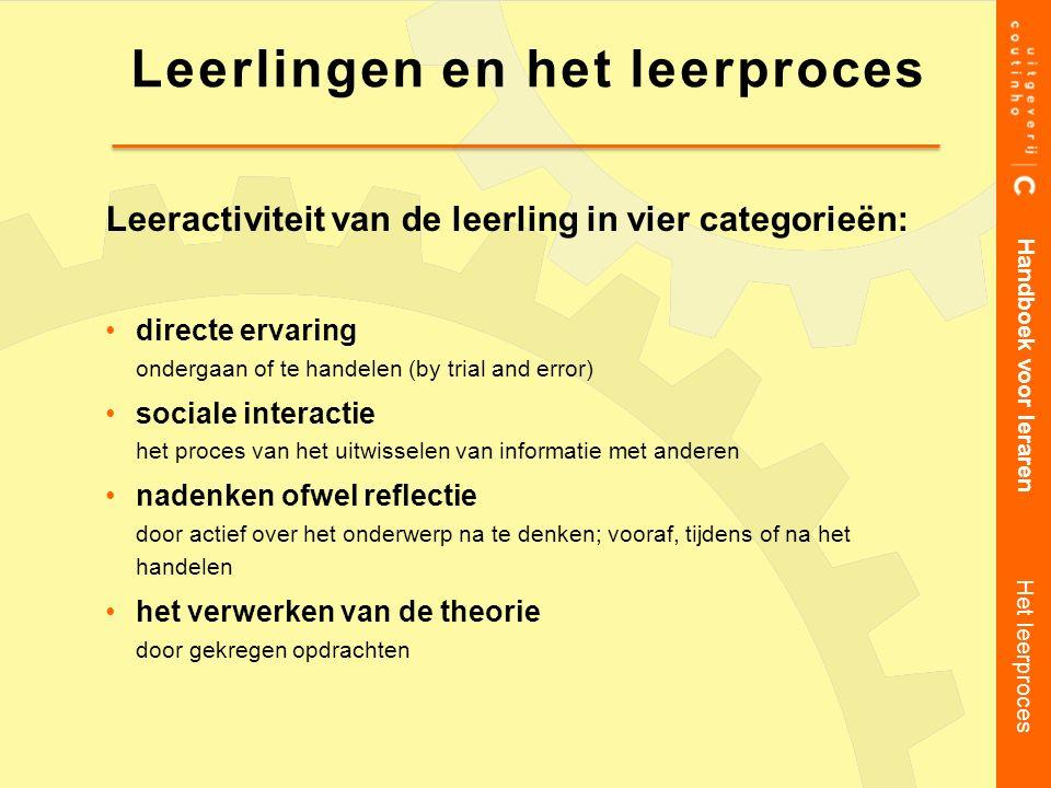 Leeractiviteit van de leerling in vier categorieën: directe ervaring ondergaan of te handelen (by trial and error) sociale interactie het proces van h