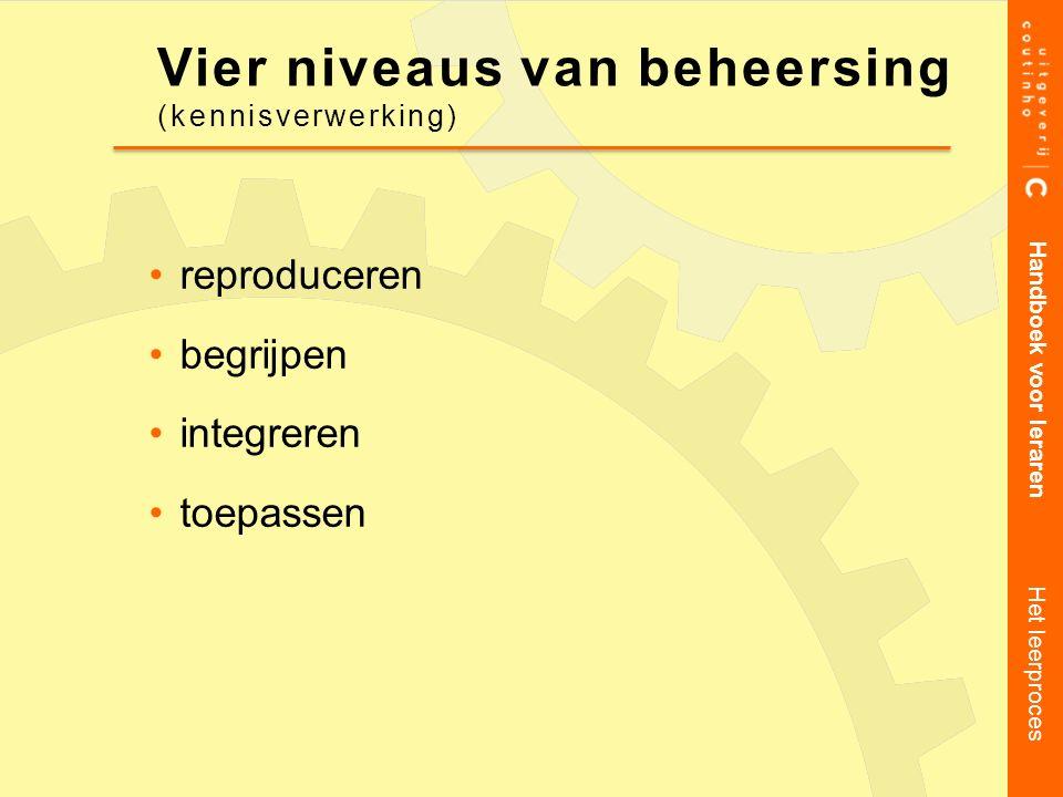 reproduceren begrijpen integreren toepassen Handboek voor leraren Het leerproces Vier niveaus van beheersing (kennisverwerking)